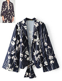 Fashion Navy Flower Pattern Decorated V Neckline Coat