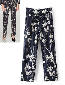 Fashion Navy Flower Pattern Decorated Trousers
