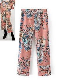 Fashion Pink Flower Pattern Decorated Trousers