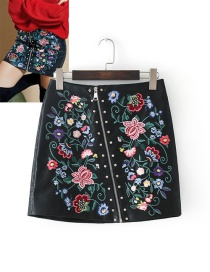 Fashion Black Flower Decorated Skirt