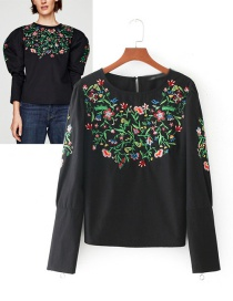 Fashion Black Flower Pattern Decorated Smock
