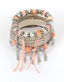 Fashion Pink Bead Decorated Multi-layer Bracelet (7 Pcs)
