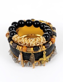 Fashion Black Bead Decorated Multi-layer Bracelet (4 Pcs)