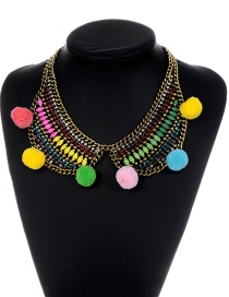 Fashion Multi-color Ball Decorated Pom Necklace