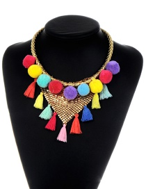 Fashion Multi-color Tassel Decorated Pom Ball Necklace