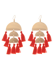 Fashion Red Tassel Decorated Semicircle Shape Earrings