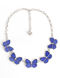 Fashion Sapphire Blue Butterfly Shape Decorated Necklace