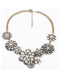 Fashion Gold Color Flower Shape Decoraetd Necklace