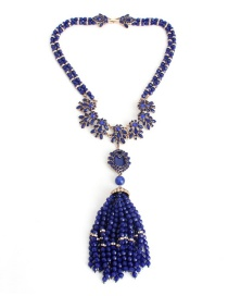Fashion Sapphire Blue Leaf Shape Decorated Necklace