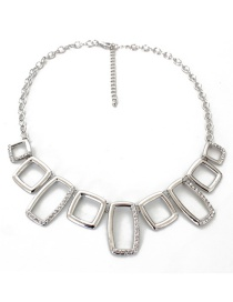 Fashion Silver Color Square Shape Decorated Necklace