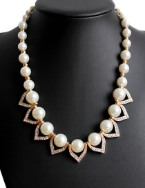Fashion Gold Color Pearls Decoratd Heart Shape Necklace