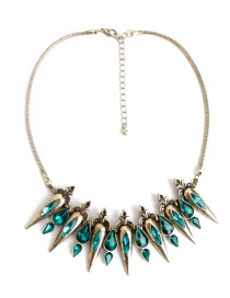 Fashion Green Water Drop Decorated Necklace