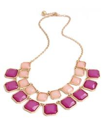 Fashion Purple Square Shape Decorated Necklace