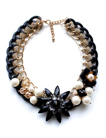Fashion Black Pearl&diamond Decorated Necklace