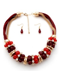 Fashion Red Gemstone Decorated Jewelry Sets