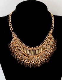 Fashion Coffee Diamond Decorated Necklace
