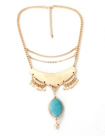 Fashion Blue Pure Color Decorated Necklace