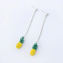 Fashion Silver Color+yellow Pineapple Shape Decorated Pure Color Earrings