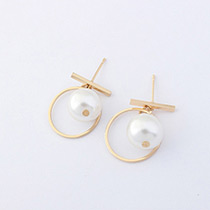 Fashion Gold Color Pearl Decorated Circular Ring Pure Color Earrings
