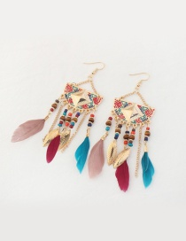 Fashion Multi-color Feather&leaf Decorated Semicircle Shape Pure Color Earrings