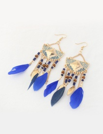 Fashion Sapphire Blue Feather&leaf Decorated Semicircle Shape Pure Color Earrings