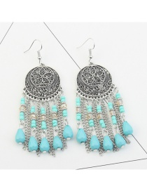 Fashion Blue Tassel Decorated Round Coin Shape Earrings
