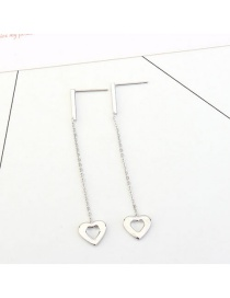 Elegant Silver Color Heart Shape Pendant Decorated Long Earrings