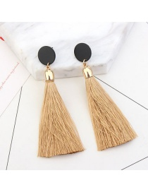Fashion Apricot Long Tassel Decorated Pure Color Earrings