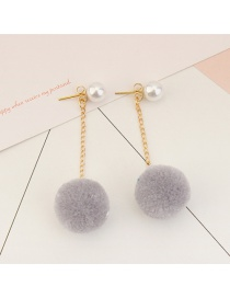 Sweet Gray Fuzzy Ball&pearls Decorated Pom Earrings