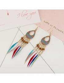 Vintage Multi-color Feathers&beads Decorated Long Earrings