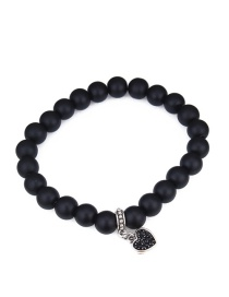 Fashion Black+silver Color Heart Shape Decorated Bracelet