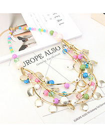 Exaggerated Multi-color Round Shape&beads Decorated Multi-layer Necklace