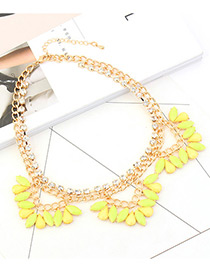 Fashion Yellow Oval Shape Diamond Decorated Double Layer Necklace
