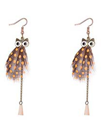 Lovely Khaki Owl Shape Decorated Long Earrings