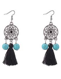 Bohemia Black Wind Chimes Decorated Tassel Earrings