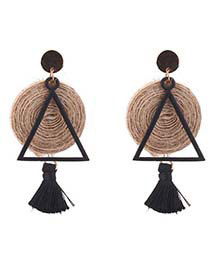 Personality Black Triangle Shape Decorated Tassel Earrings