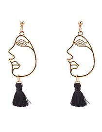 Personality Black Mask Decorated Tassel Earrings