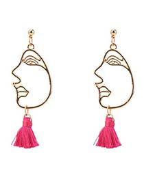 Personality Plum-red Mask Decorated Tassel Earrings