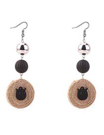 Bohemia Black Owl Shape Decorated Round Long Earrings