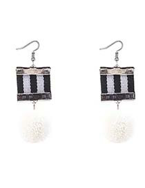 Retro White Color-matching Decorated Pom Earrings