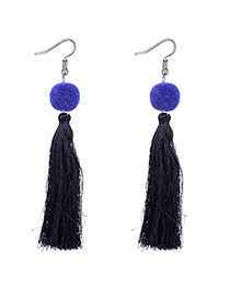 Fashion Sapphire Blue Tassel Decorated Pom Earrings