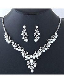 Fashion Silver Color Leaf Shape Decorated Jewelry Set