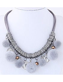 Fashion Gray Ball Decorated Pom Necklace