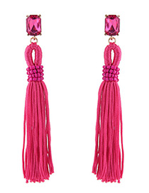 Trendy Plum Red Long Tassel Decorated Pure Color Earrings