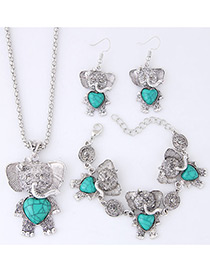 Lovely Blue Bear Pendant Decorated Jewelry Sets