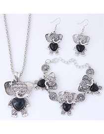 Lovely Black Bear Pendant Decorated Jewelry Sets