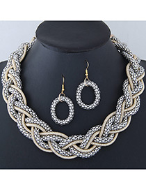 Trendy Silver Color Pure Color Decorated Jewelry Sets