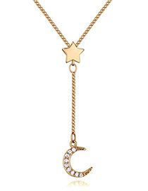Elegant Gold Color Moon Shape Decorated Necklace