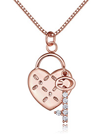 Fashion Rose Gold Color Heart Shape Decorated Necklace