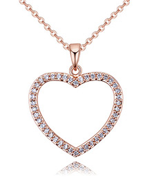 Fashion Rose Gold Color Hollow Out Heart Decorated Necklace